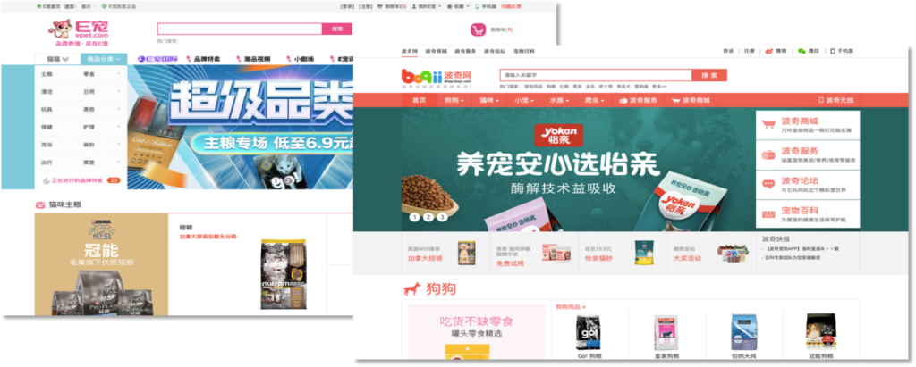 Chinese e-commerce platforms pet market